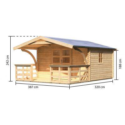 Afbeelding 2 van Woodfeeling Meldorf 5 met veranda 180 cm (91754)