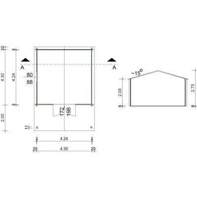 Bild 18 von Azalp Blockhaus Tim 450x450 cm, 45 mm
