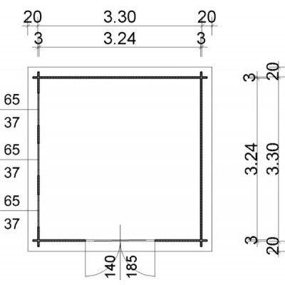 Bild 97 von Azalp Blockhaus Ingmar 350x350 cm, 30 mm