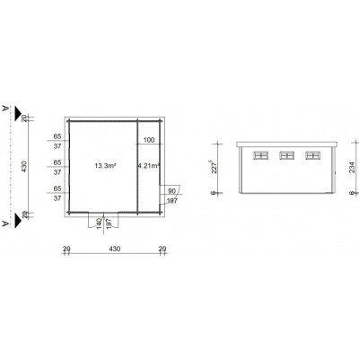 Bild 19 von Azalp Blockhaus Lars 450x450 cm, 45 mm