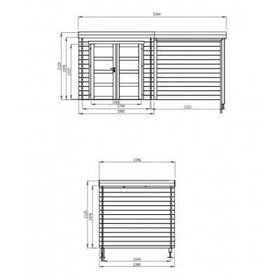Afbeelding 2 van Debro Valence met veranda 240 cm, Hoge druk geïmpregneerd