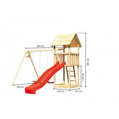 Afbeelding 2 van Akubi Speeltoren Lotti met glijbaan en dubbele schommel (89346)