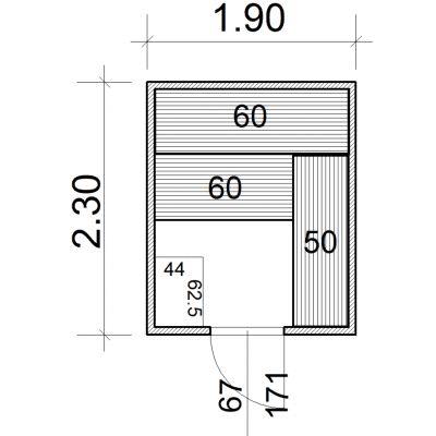 Afbeelding 2 van Azalp Massieve sauna Eva 190x230 cm, 45 mm