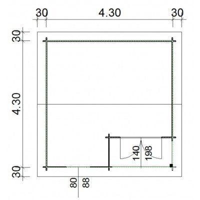 Afbeelding 66 van Azalp Blokhut Kinross 450x450 cm, 30 mm