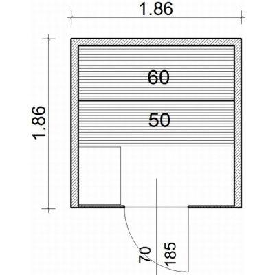Afbeelding 2 van Azalp Lumen elementsauna 186x186 cm, elzen