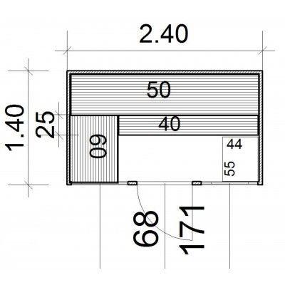 Afbeelding 4 van Azalp Massieve sauna Eva Optic 240x140 cm, 45 mm