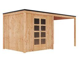 Foto van GrandiWood Portland Blokhut - Dubbele deur met luifel 350 cm