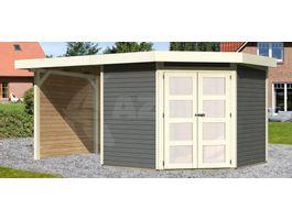 Foto van Woodfeeling Namen 5 Blokhut met veranda 240cm terragrijs