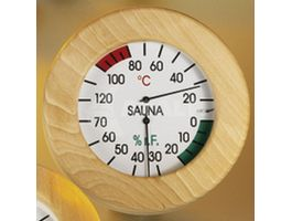 Foto van Hot Orange Thermo-hygrometer Hout-Wit