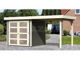 Foto van Woodfeeling Leuven 2 Blokhut met zijluifel 240cm terragrijs