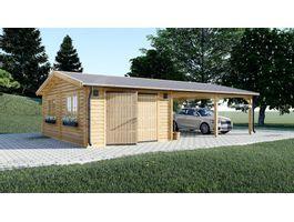 Foto von Graed Double Holzgarage + Holzern Carport 950x595 cm - 44 mm