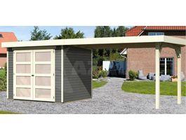 Foto van Woodfeeling Leuven 3 Blokhut met zijluifel 280cm terragrijs