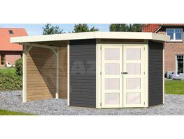 Foto von Woodfeeling Namen 3 Gartenhaus Mit veranda 240cm terra-grau