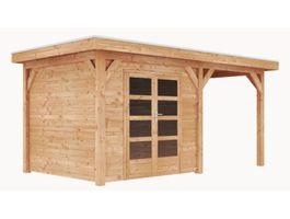 Foto van GrandiWood Saint Paul Blokhut - Dubbele deur met luifel 250 cm