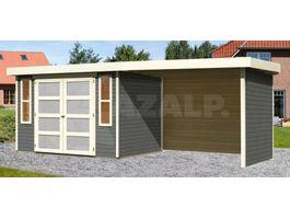 Foto van Woodfeeling Leuven 4 Blokhut met veranda 280cm terragrijs