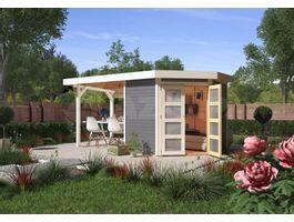 Foto von Woodfeeling Namen 3 Gartenhaus mit Seitenmarkise 240cm terra-grau