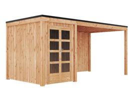 Foto van GrandiWood Plano Blokhut - Dubbele deur met luifel 450 cm