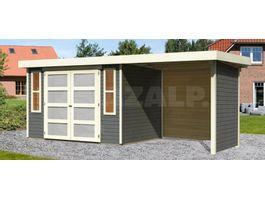 Foto von Woodfeeling Leuven 4 Gartenhaus Mit veranda 240cm terra-grau