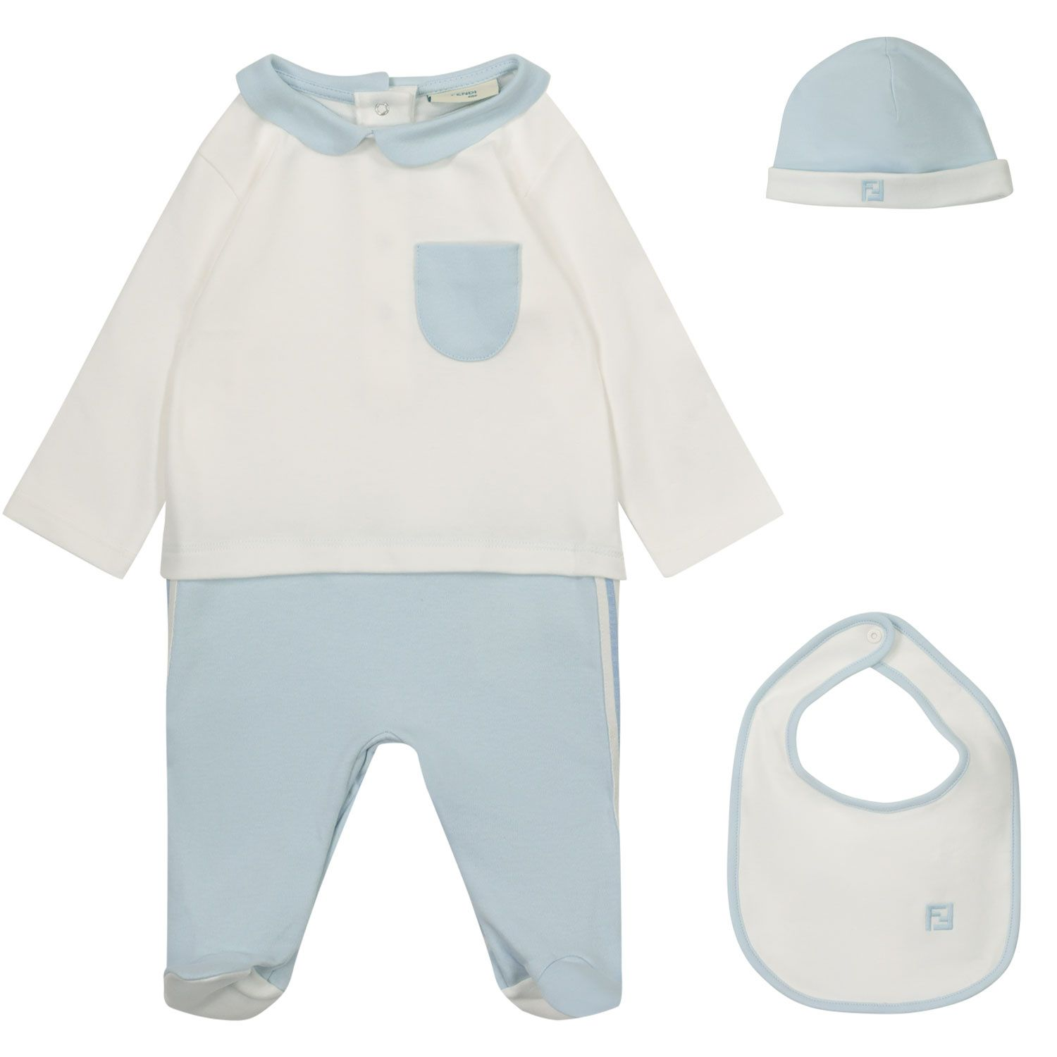 Picture of Fendi BUK077 A8LK baby playsuit light blue