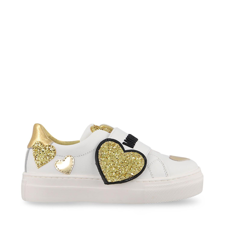 Afbeelding van Moschino 67507 kindersneakers wit/goud