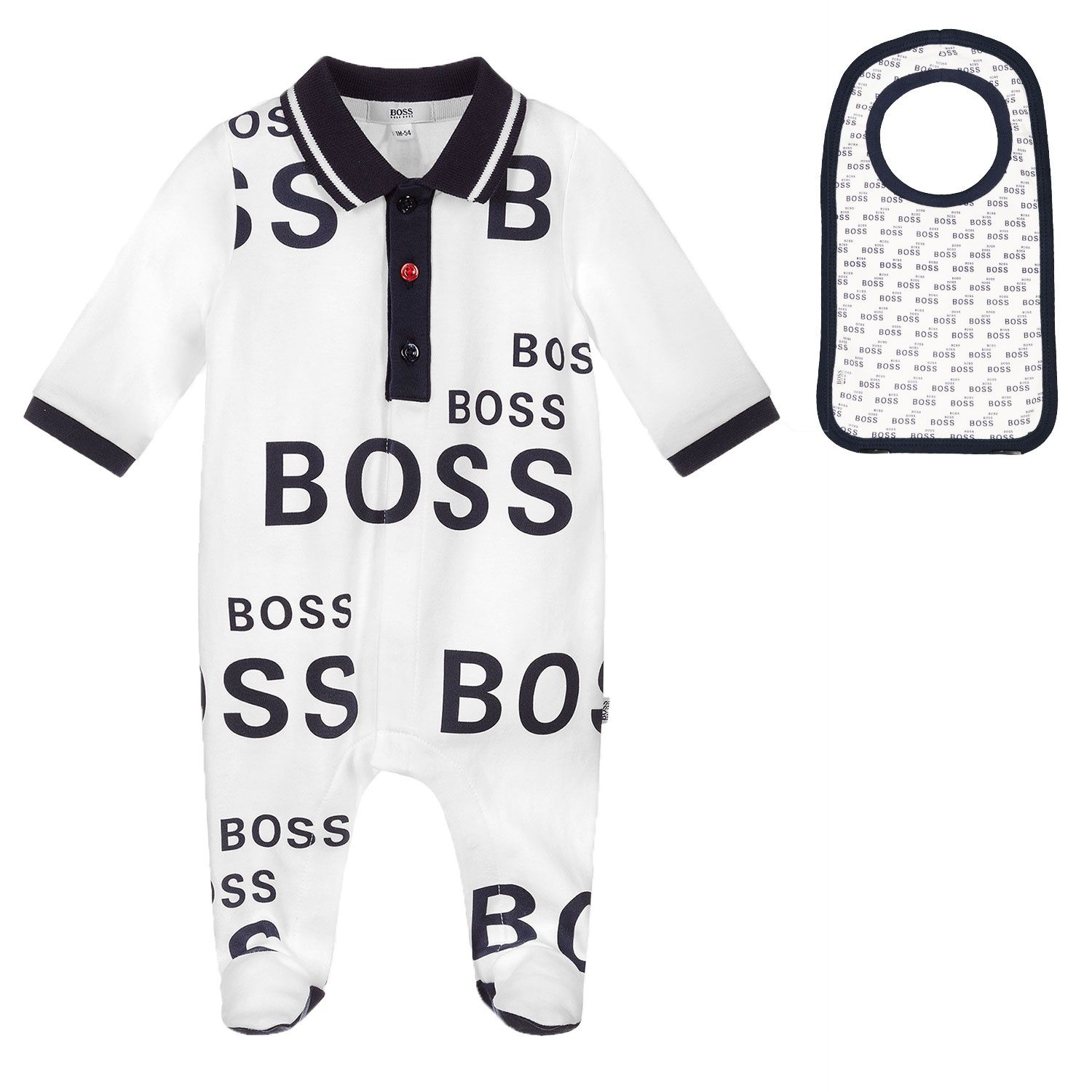 Picture of Boss J98335 baby playsuit white