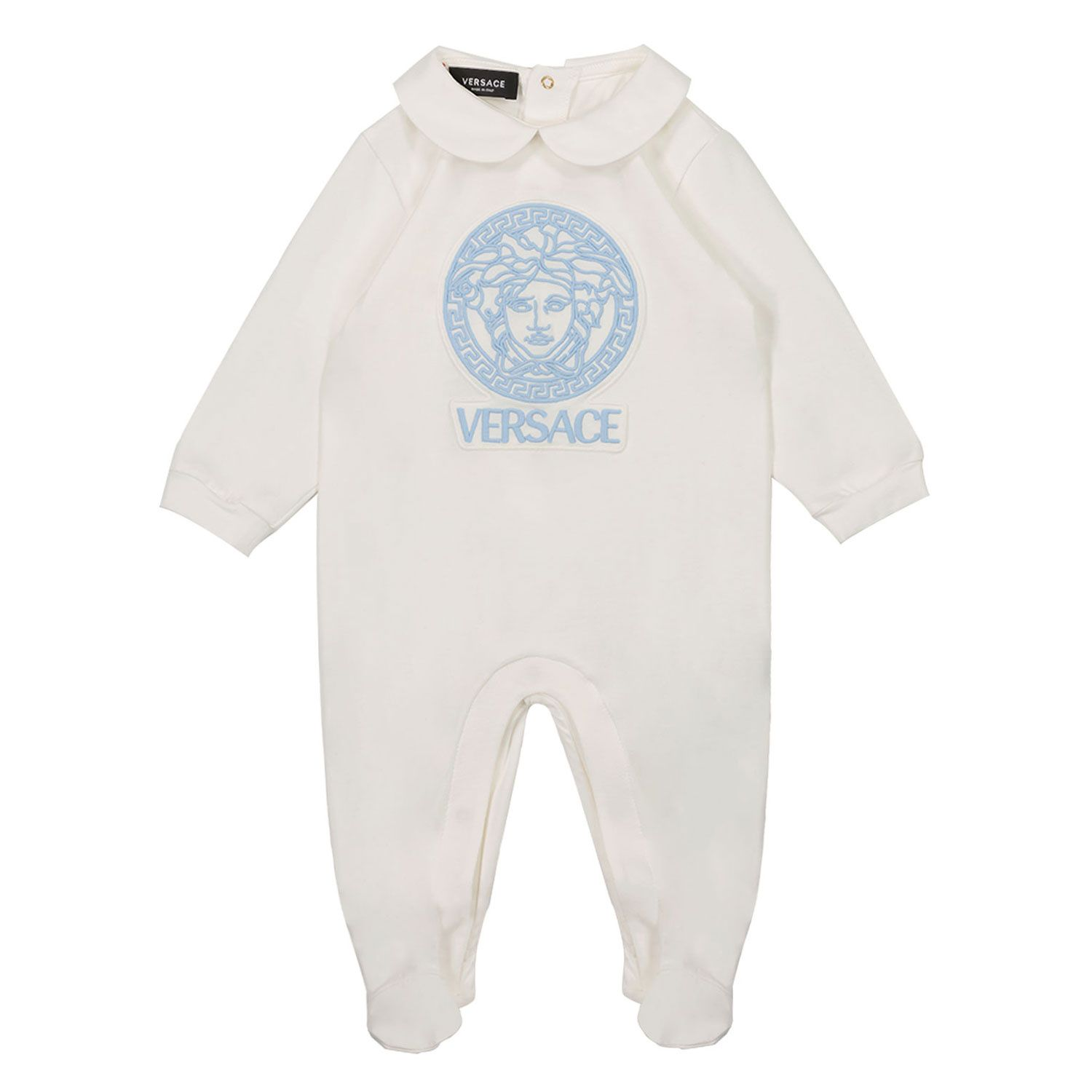 Picture of Versace 1A00230 baby playsuit light blue