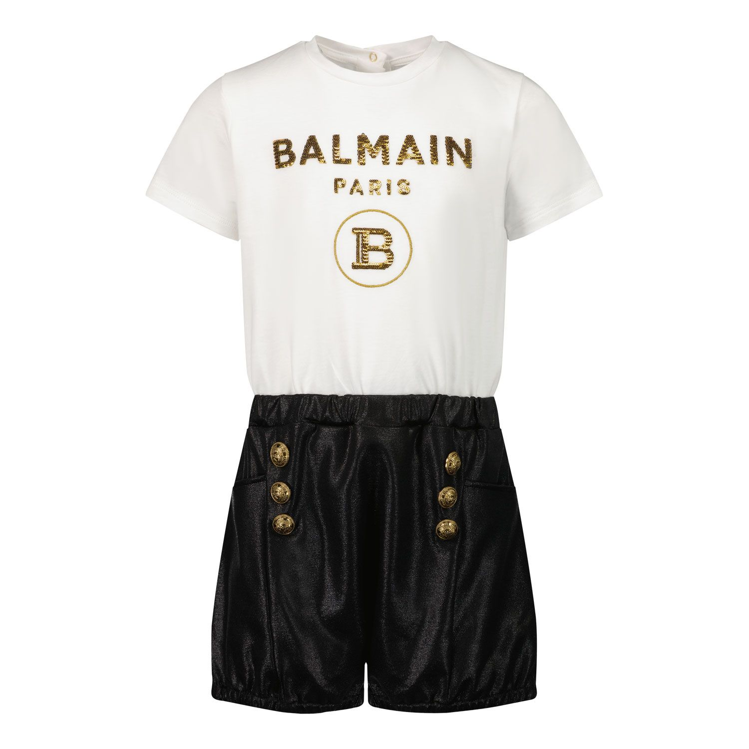 Picture of Balmain 6O1849 baby jumpsuit white