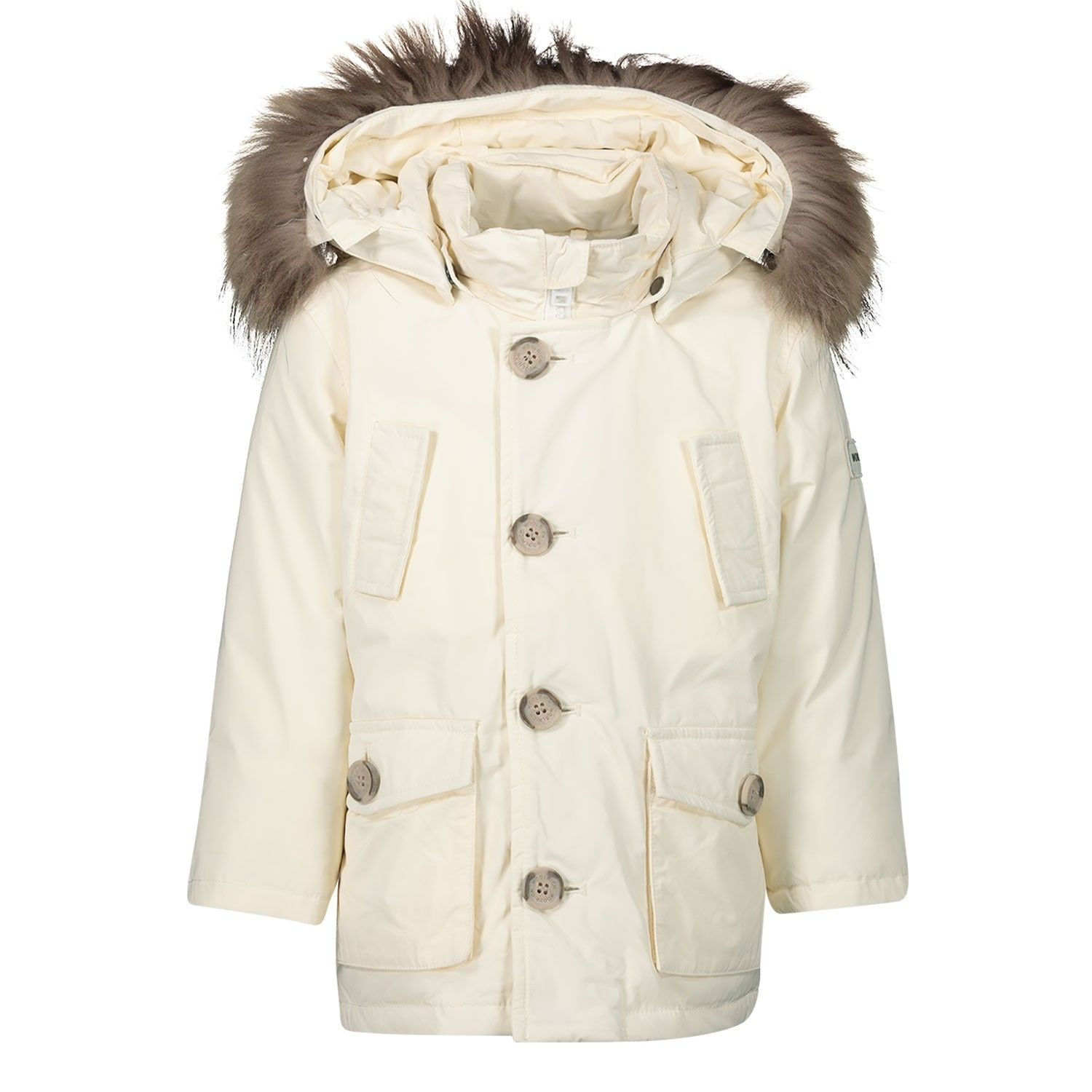 Picture of Woolrich WKOU0139MR baby coat off white