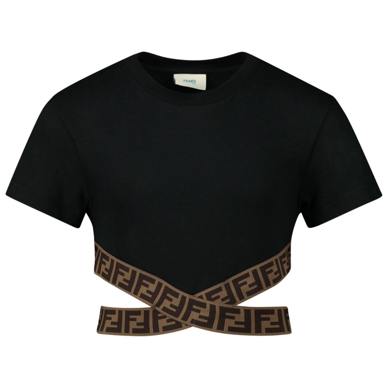 Afbeelding van Fendi JFI194 kinder t-shirt zwart