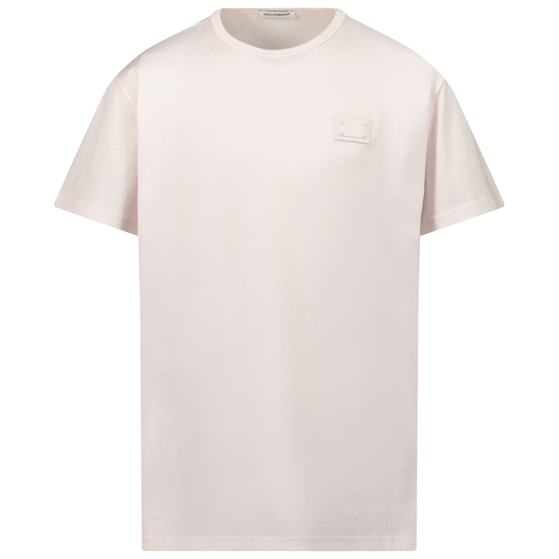 Picture of Dolce & Gabbana L4JT7T G7OLK kids t-shirt light pink