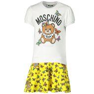 Afbeelding van Moschino MAV06X babyjurkje wit/geel