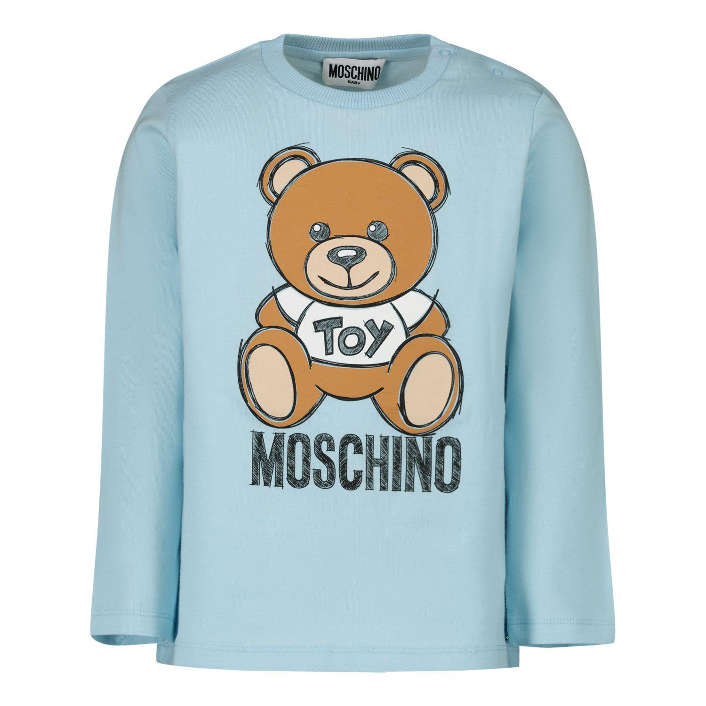 Picture of Moschino MVO000 baby shirt light blue
