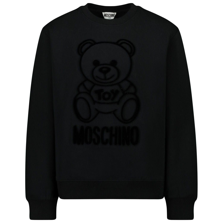 Picture of Moschino HMF043 kids sweater black