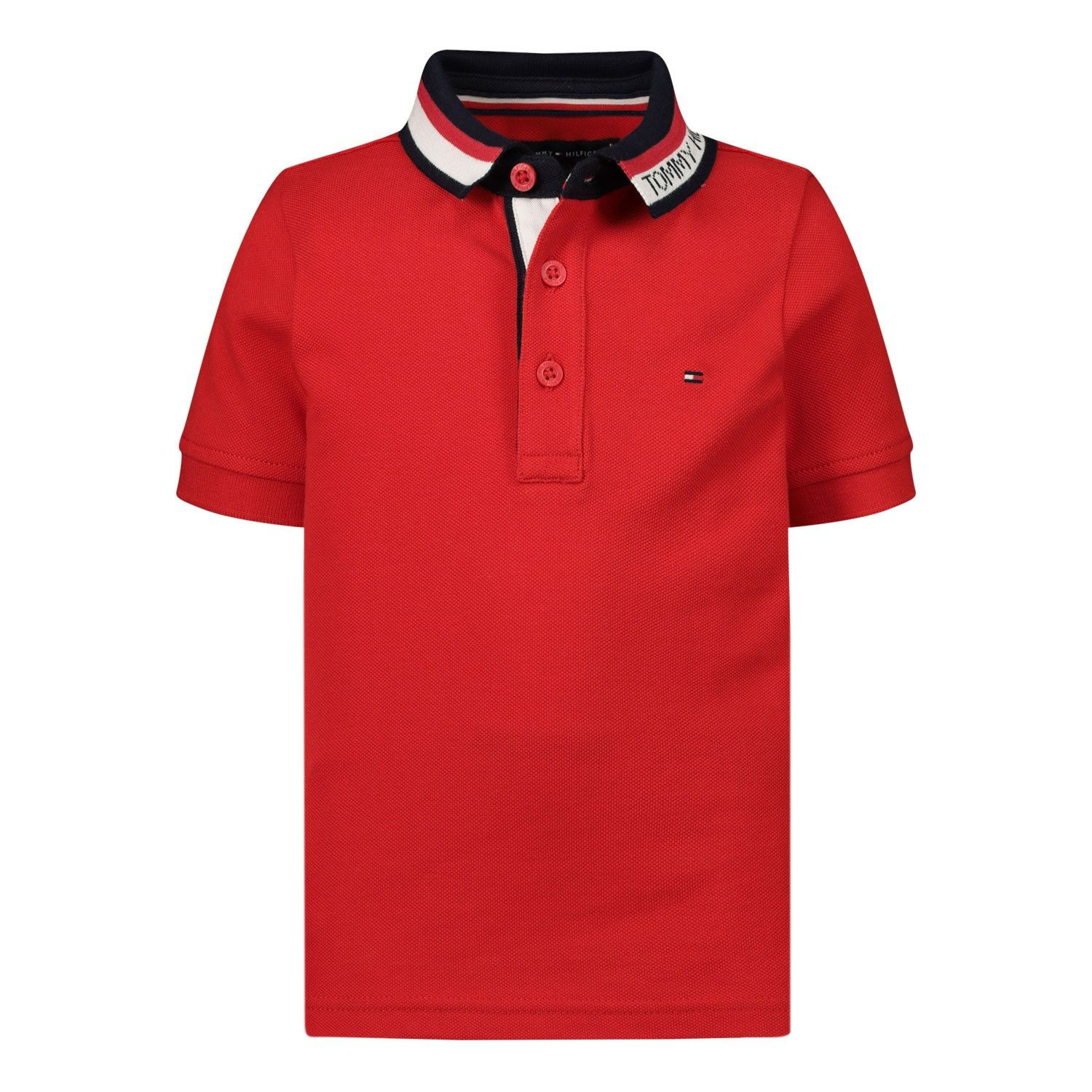 Picture of Tommy Hilfiger KB0KB05833B baby poloshirt red