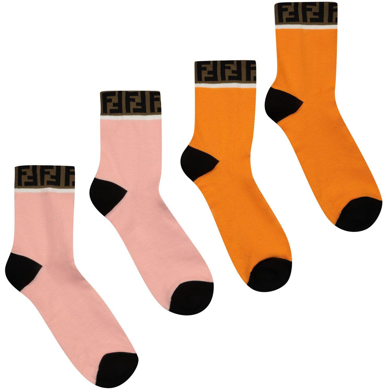 Picture of Fendi JUN008 AASX kids socks orange