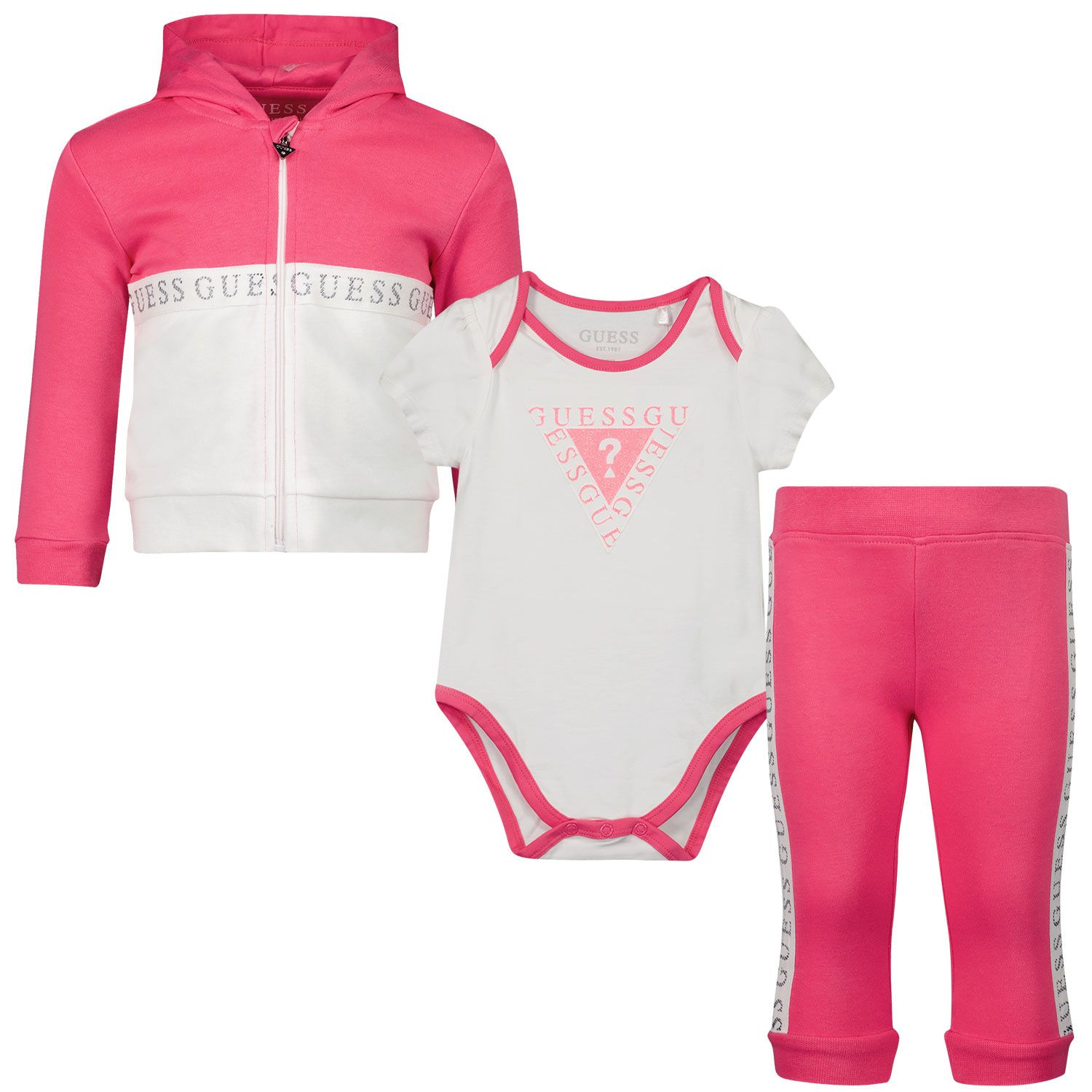 Picture of Guess S1RG02 baby sweatsuit fuchsia