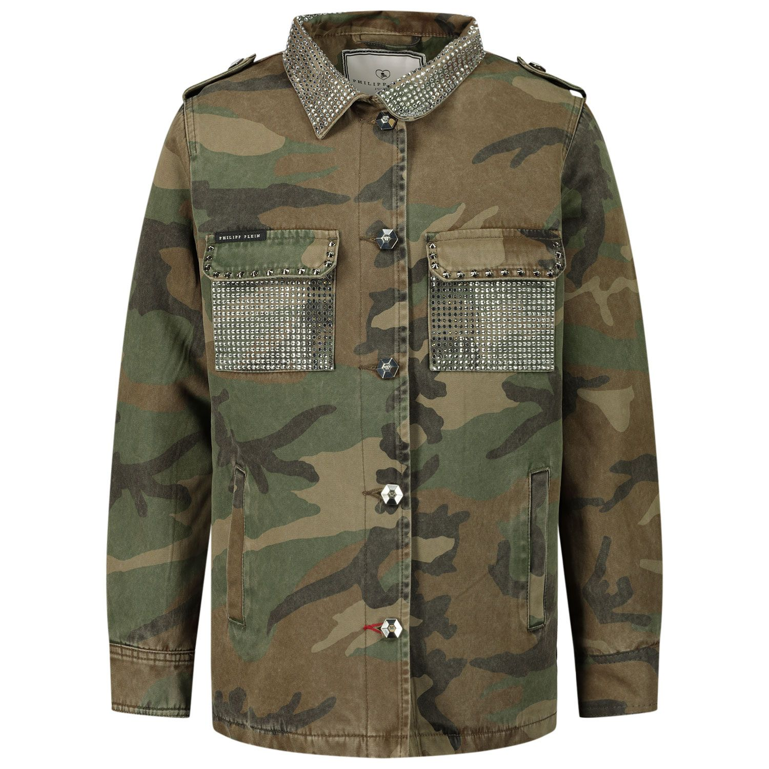 Picture of Philipp Plein F20C GRA0070 kids jacket army