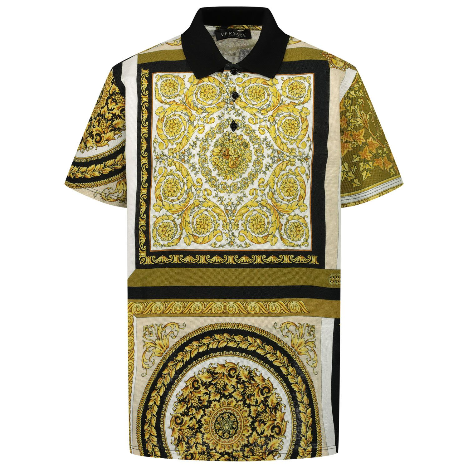Picture of Versace 1000127 kids polo shirt gold