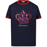 Picture of Dolce & Gabbana L4JT8A/G7WUF kids t-shirt navy