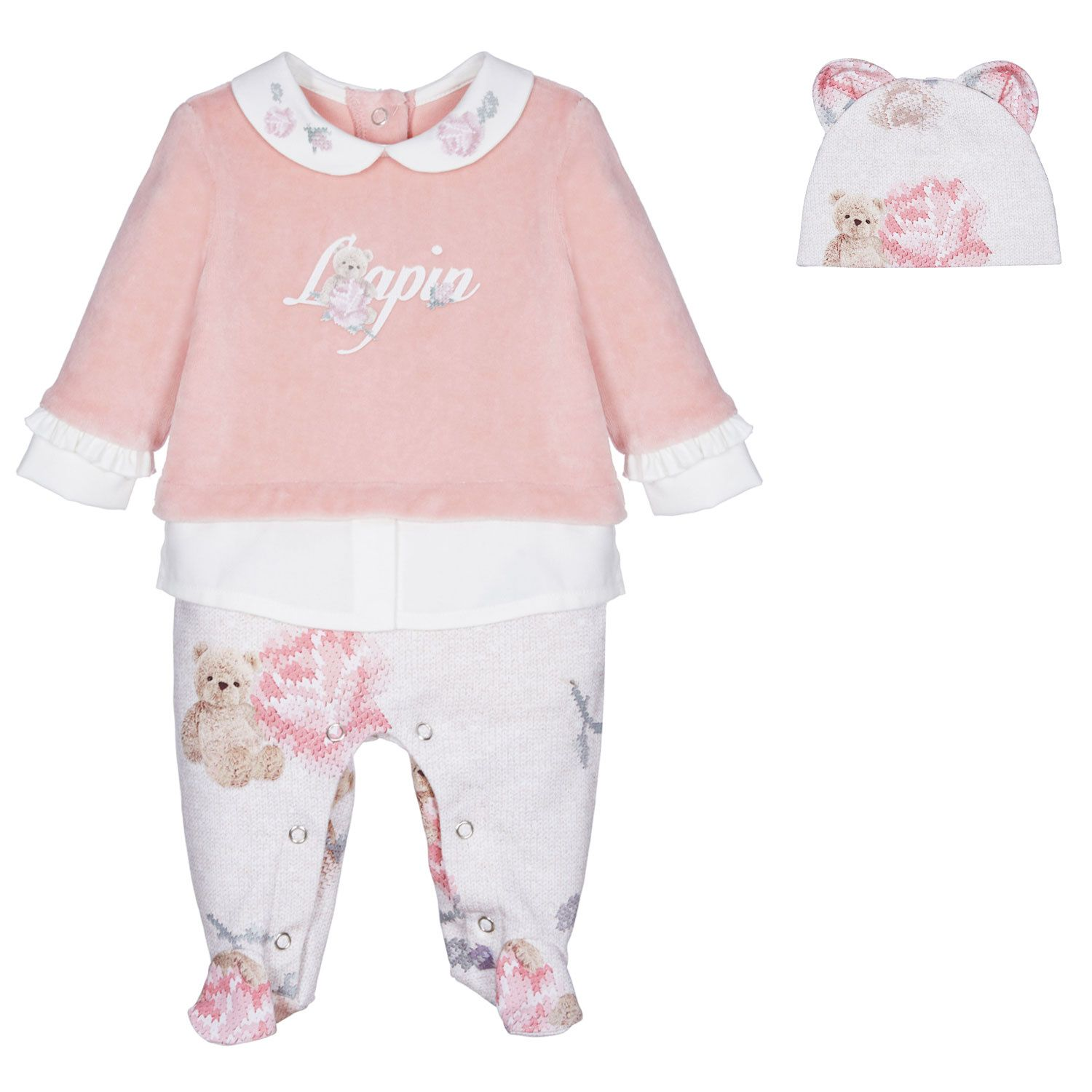 Picture of Lapin 212E5193 baby playsuit pink