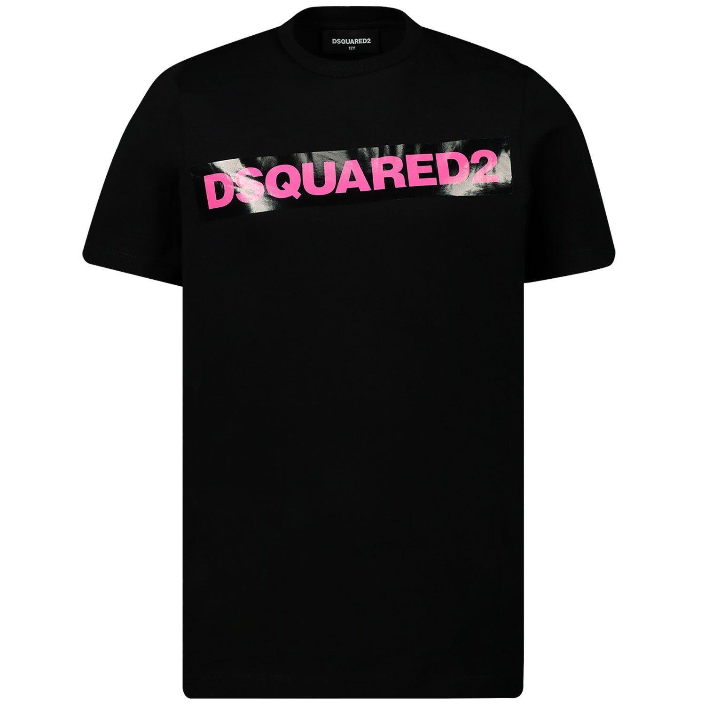 Afbeelding van Dsquared2 DQ03Y5 M kinder t-shirt fluor roze/zwart