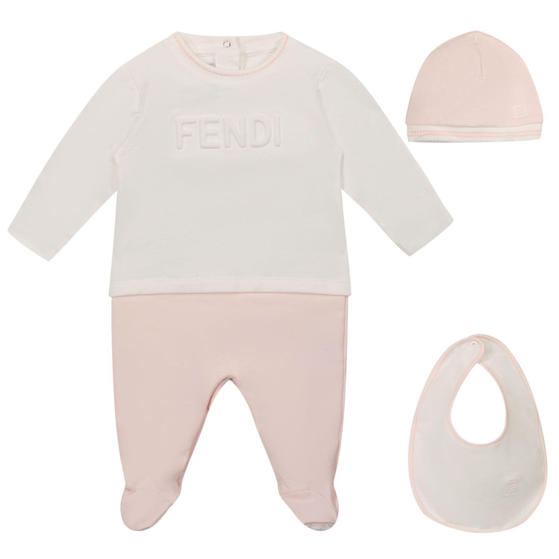Picture of Fendi BUK082 8RA baby playsuit light pink