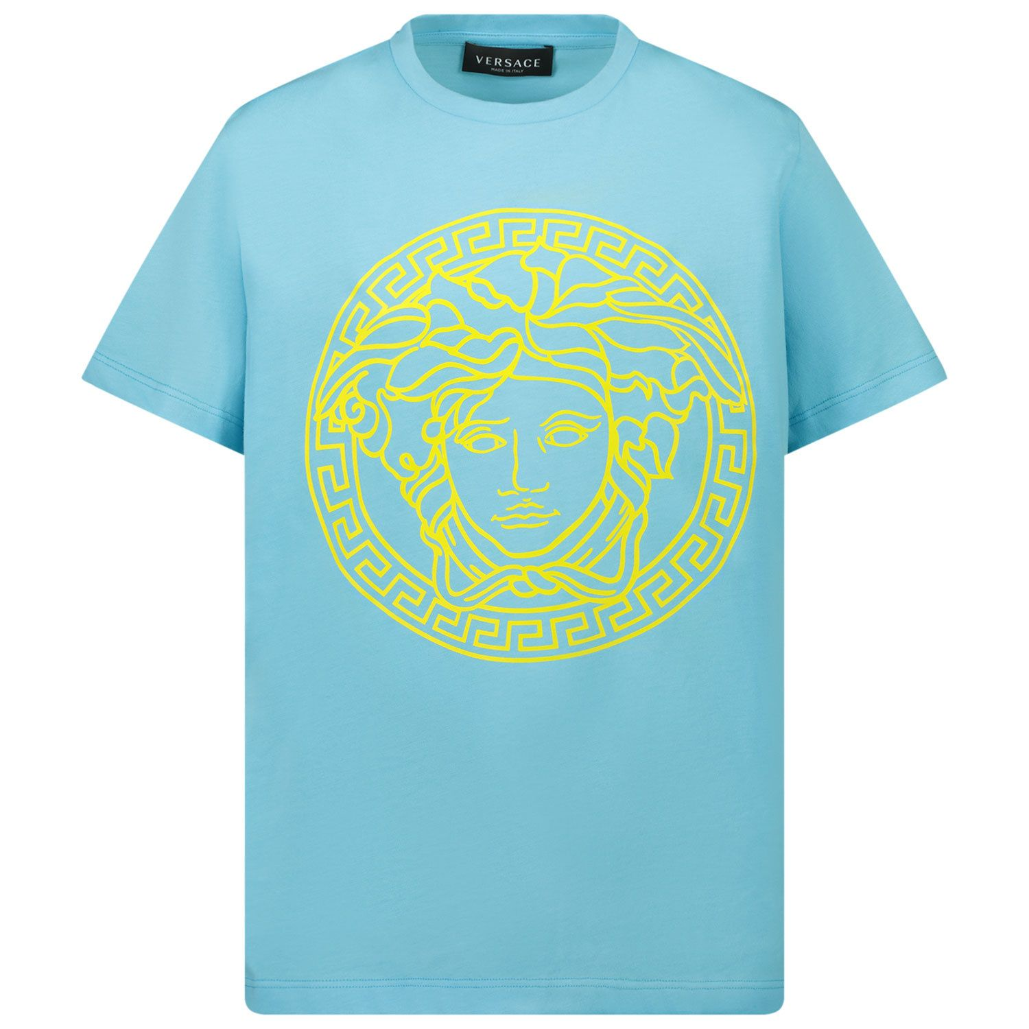 Picture of Versace 1000239 1A00290 kids t-shirt turquoise