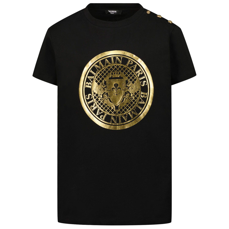 Afbeelding van Balmain 6O8011 kinder t-shirt zwart