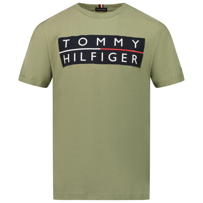 Afbeelding van Tommy Hilfiger KB0KB06675 kinder t-shirt olijf groen