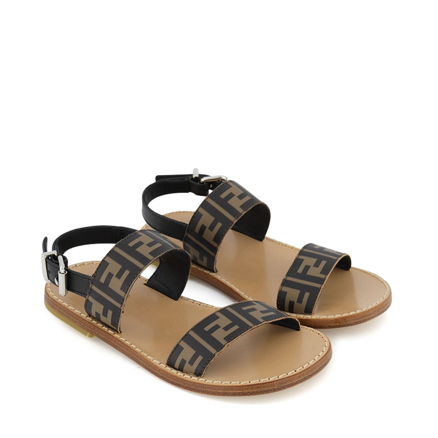 Picture of Fendi JMR324 kids sandals brown