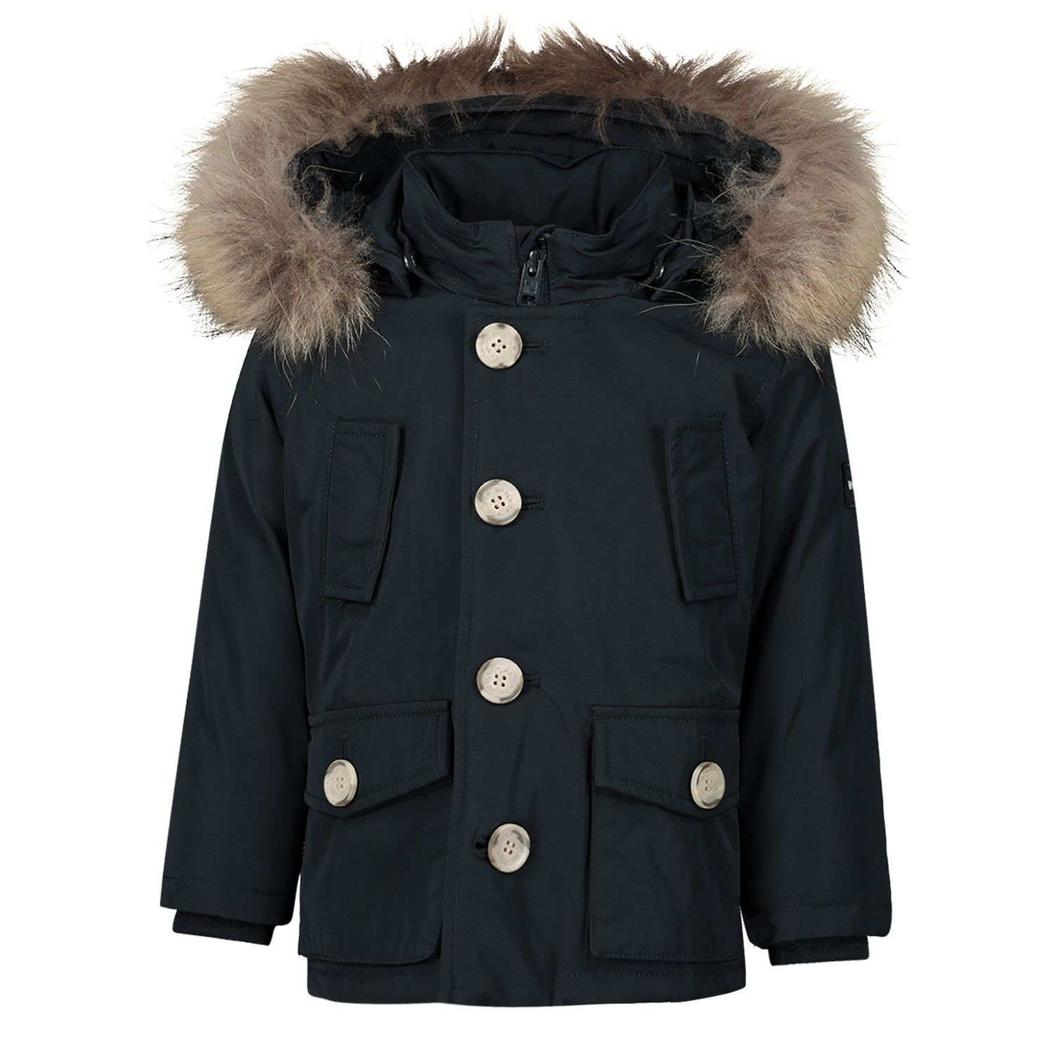 Picture of Woolrich WKOU0139MR baby coat navy