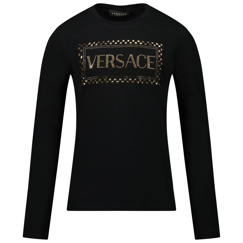 Afbeelding van Versace YC000429 kinder t-shirt zwart