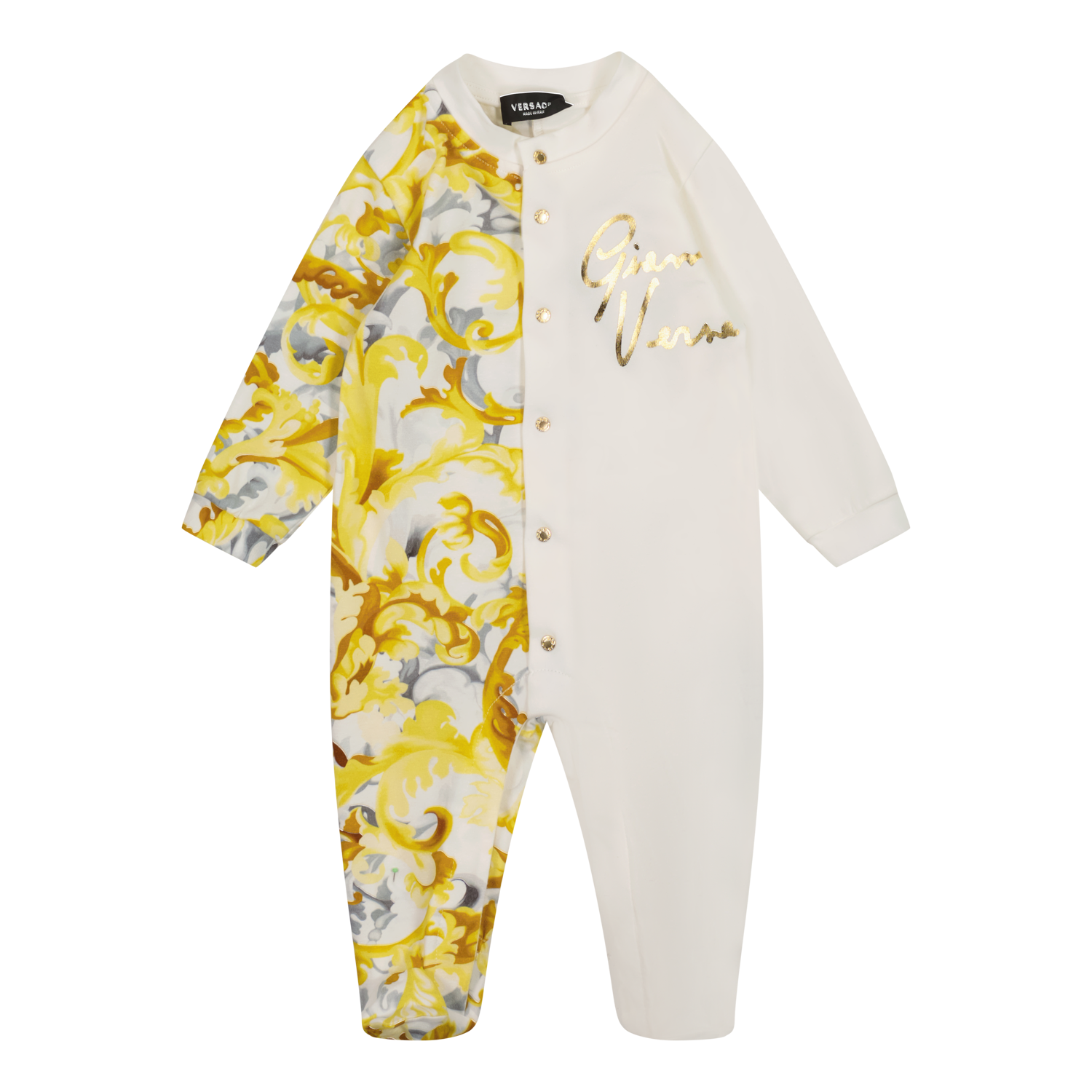 Picture of Versace 1A01068 baby playsuit white