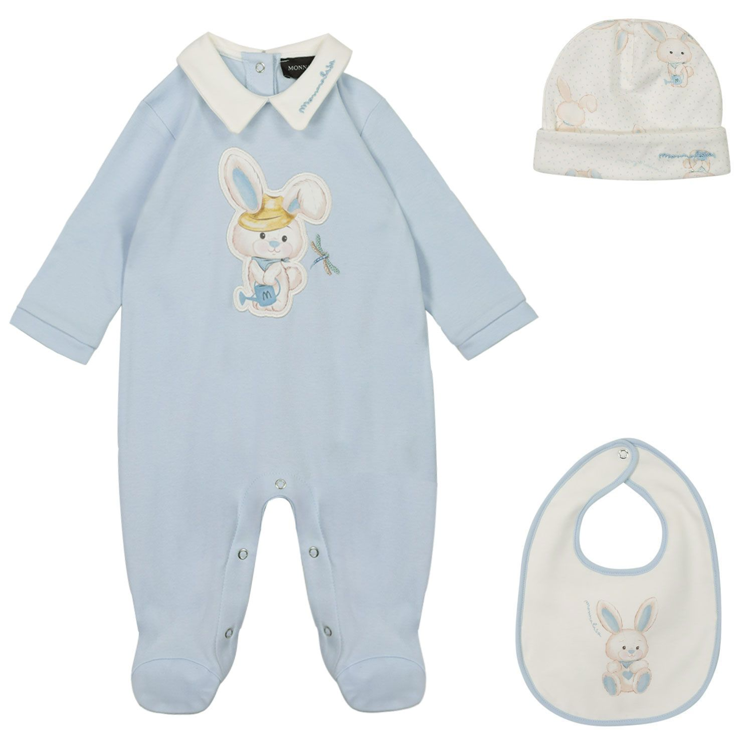 Picture of MonnaLisa 227505 baby playsuit light blue